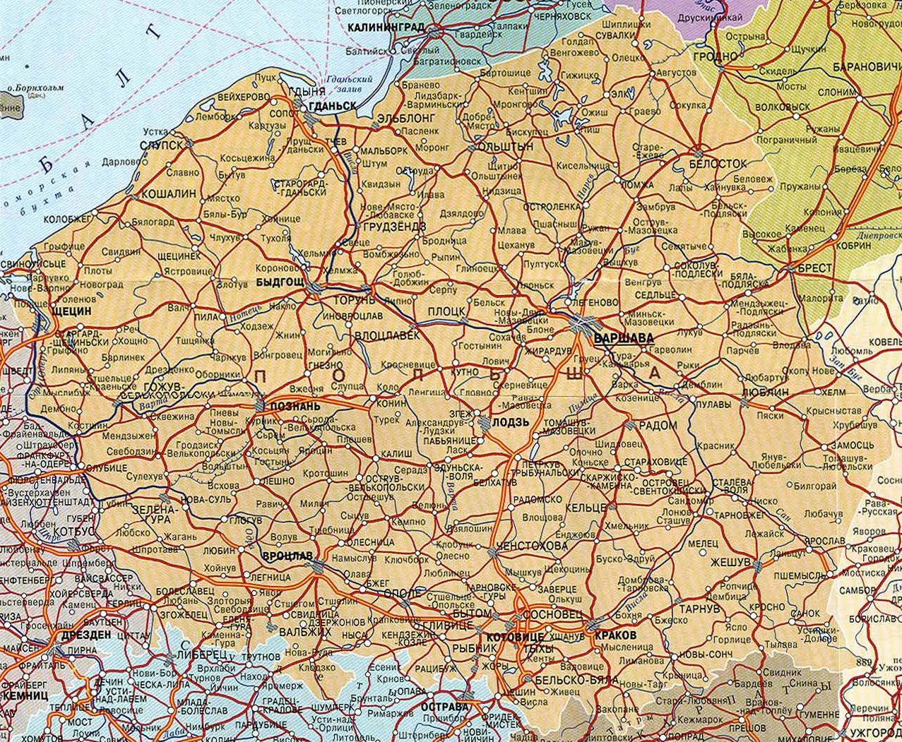 Подробная карта европы