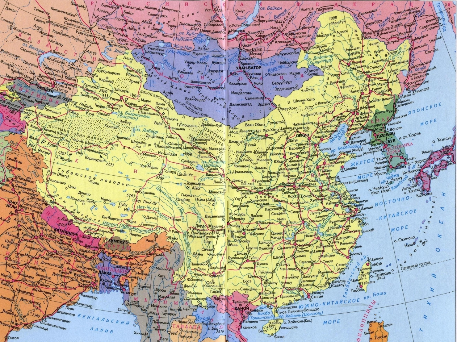 Карта китая кнр на русском языке